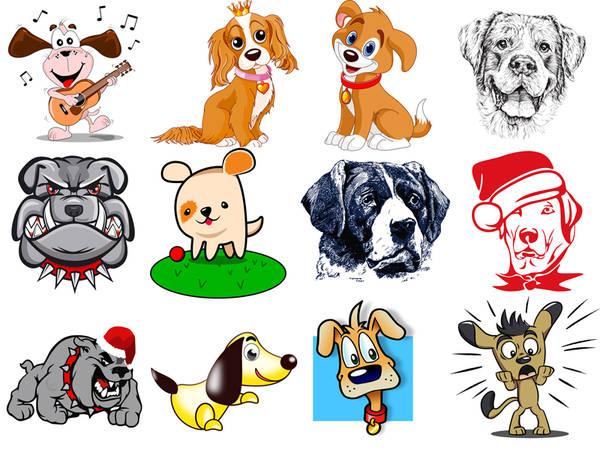 Собаки 2018, клипарт для новогодних календарей и открыток